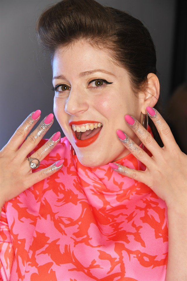 <p>CND creative ambassador Miss Pop models the brand's nail look. Image courtesy ofCND.</p>
