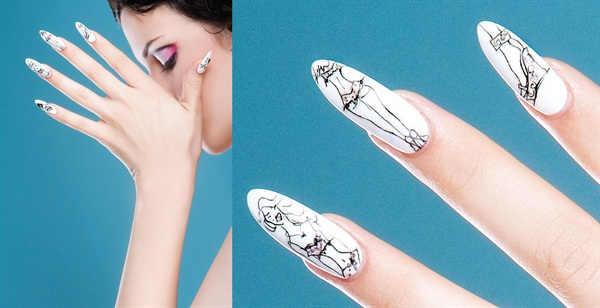 To get these nails to look like a fashion sketch, Ellison applied two coats of white enamel over Brisa gels. After allowing the polish to dry thoroughly she used a pencil to sketch her designs, then went over them with a black illustration marker. She painted highlights with pink watercolor paint and finished with two layers of top coat.