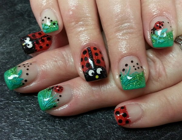 Janelle Lamont, Tickled Pink Beauty Bar, Williams Lake, British Columbia,  Canada. Keywords: spring nail art - Day 77: Ladybug Nail Art - - NAILS Magazine