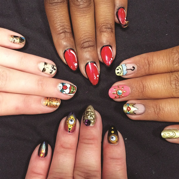 <p>Raquel Nevarez (@raqstarnails), Jane (@thatjanedesigns), Kelly (@i_ nailed_it), and Danielle Lubin (@10thstorynails) show off their own nail art for the event.</p>