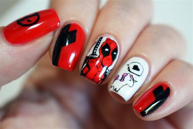 Via Nail Art Gallery. - 24 Indestructible Deadpool Nail Art Designs - - NAILS Magazine