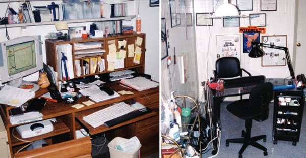 "Debbie Doerrlamm's ""command center"" includes both an office area and a nail workstation (in two different rooms)."