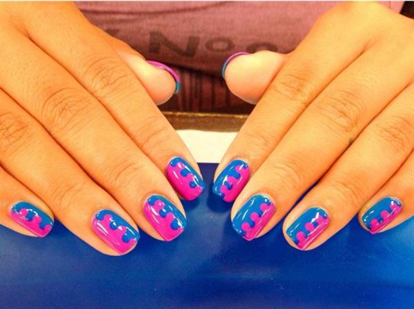 Manicure and color block dotticure for a classmate.