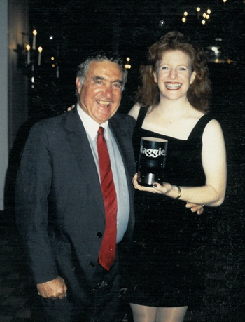 <p>Ed Bobit and longtime NAILS publisher Cyndy Drummey celebrate.</p>
