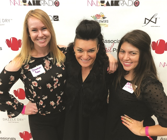 Sales rep Shannon Rahn, Jen Planck, and me at the ANP Meet and Mingle event prior to the Best Lil' Nail Show Texas.