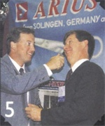 <p>Eickert brothers Ramon (left) and Uwe  Eickert of Arius-Eickert, who demonstrated additional uses for toenail  clippers while horsing around at the 1998 BBSI show.</p>