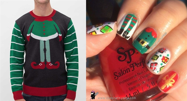 "<p>Sweater:<a href=""http://www.buckle.com/ugly-christmas-sweater-elf-sweater/prd-56582P4008002B""> www.buckle.com</a>; Nail art:<a href=""http://instagram.com/thecraftyninja"">@thecraftyninja</a></p>"