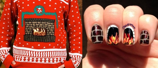 "<p>Sweater: <a href=""http://www.dudeiwantthat.com/style/clothing/animated-ugly-christmas-sweaters.asp"">www.dudeiwantthat.com</a>; Nail art: <a href=""https://flightofwhimsy.wordpress.com/2013/12/12/fireside/"">https://flightofwhimsy.wordpress.com</a></p>"