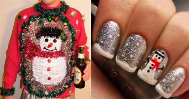 Pretty Nail Art And Ugly Christmas Sweaters That Sort Of Match