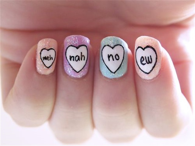 """<p>Via <a href=""""http://www.meandher.co/anti-valentines-day-nails"""">meandher.co</a></p>"""