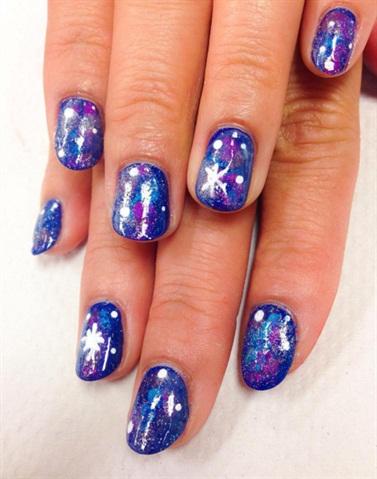 <p>Galaxy nail art post spa mani for a classmate.</p>