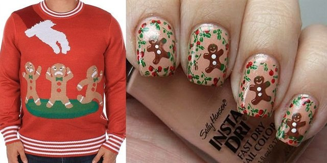 "<p>Sweater: <a href=""http://www.thisiswhyimbroke.com/gingerbread-nightmare-ugly-christmas-sweater"">www.thisiswhyimbroke.com; </a>Nail art: <a href=""http://www.coloresdecarol.com/2011/12/12-days-of-christmas-challenge-day-9.html?utm_source=feedburner&utm_medium=feed&utm_campaign=Feed:+ColoresDeCarol+%28Colores+de+Carol%29"">www.coloresdecarol.com</a></p>"