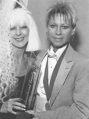 <p>First place for sculptured nails was awards to Gloria King (right).</p>