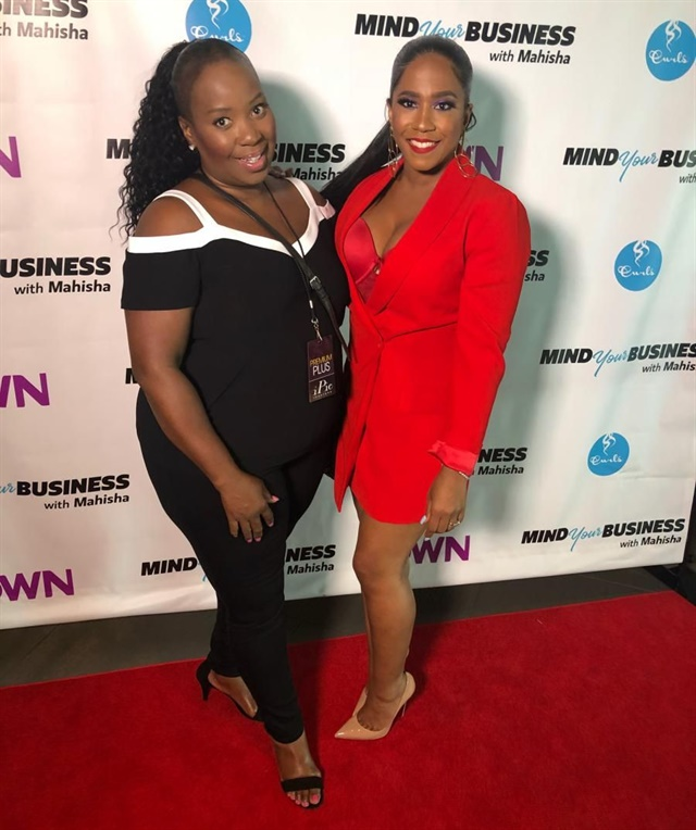 "<p>Footnanny founder Gloria L. Williams joins Mahisha Dellinger, founder of Curls, at the red carpet premiere of OWN TV summer series,"" Mind Your Business with Mahisha."" Photo courtesy of Footnanny, Inc.</p>"