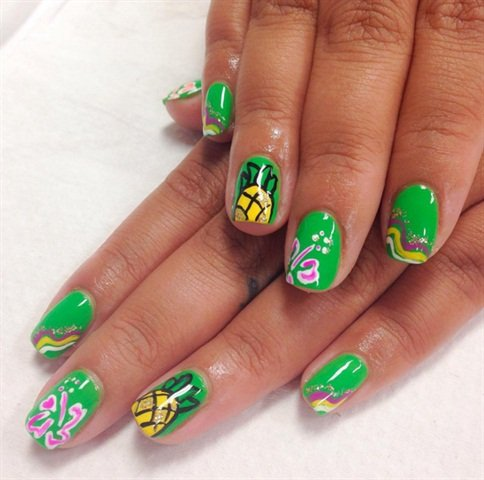 <p>Manicure, polish change, and Hawaiian-theme nail art for a classmate.</p>