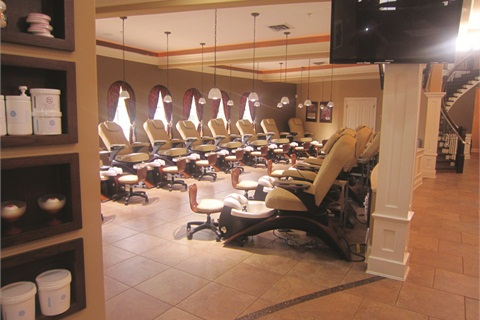 <p>The salon's well-lit pedicure room features 30 Echo pedicure chairs from Continuum Footspas. According to co-owner and nail tech Kenny Nguyen, clients like booking appointments in large groups and having parties at Cali Spa's new location.</p>