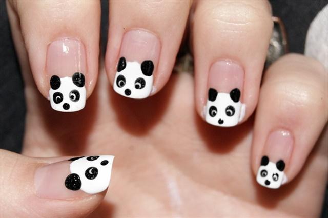 Black and white all over - Panda Nail Art For National Panda Day - - NAILS Magazine