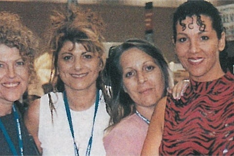 <p>Nail techs Diana Bonn, Jenny Markakis, Debbie Doerrlamm, and Athena Elliot take a break from walking the show floor to attend the nail competition awards. Markakis, who came all the way from Australia, was a first-time competitor; Debbie was a model; and Bonn and Elliott both served as judges for the competitions. </p>