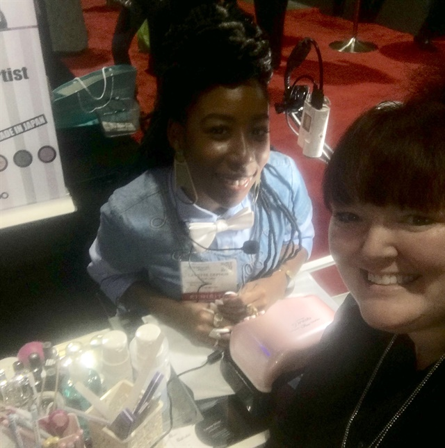 <p>NTNA's Lavette Cephus was available for demos at the Nail Labo booth.</p>