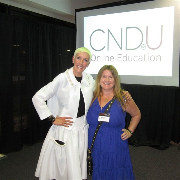 <p>NAILS editor Hannah Lee celebrates the announcement of CNDU, the company's first-ever online education program for nail professionals with CND's Jan Arnold.</p>
