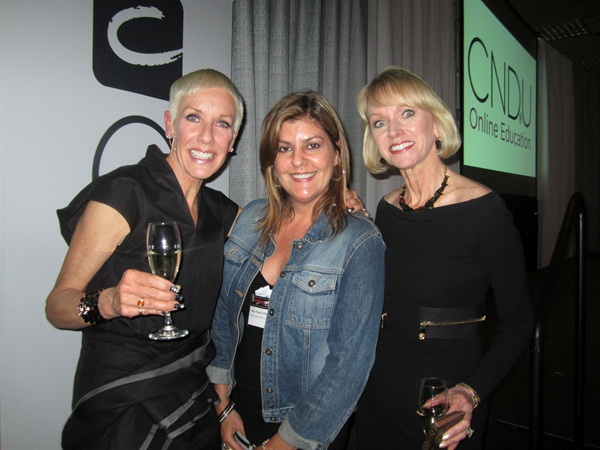 <p>At an evening event to announce CNDU to the industry, Jan Arnold (left) and Lynelle Lynch (right) celebrate with NAILS senior editor Tracy Rubert (center).</p>