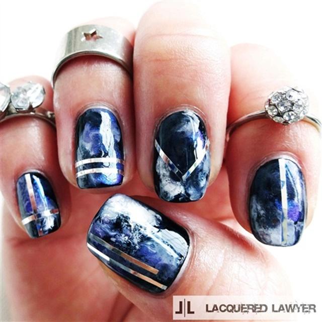 "<p><a href=""http://nailartgallery.nailsmag.com/lacqueredlawyer/photo/400285/violet-vapor"">Via Nail Art Gallery</a></p>"