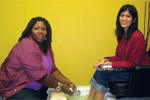 I got a pedicure with Kamisha Winfield in the on-site salon of Michael's School of Beauty