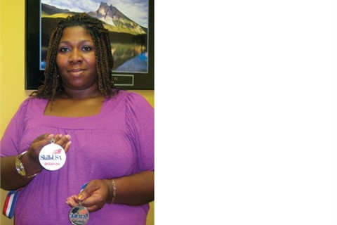 <p>Winfield's passion paid off even while in beauty school, when she won these medals in the SkillsUSA nail care competition, placing first at the state level and second at the national level.</p>