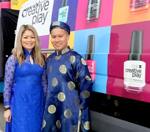 <p>CND education ambassadors Michele Huynh and John Nguyen wore traditional Vietnamese attire for the festivities.</p>