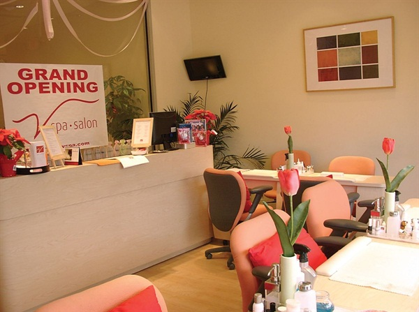 <p>Clients entering the salon from the rear parking lot walk directly into the manicure room. The salon derives 40%-45% of its business from nail services.</p>