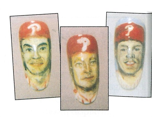 """<p>Nail transfers of Phillies players (from left) Terry Mulholland, Curt Schilling, and Lenny Dykstra (""""Nails"""") cost just $20 apiece as opposed to $200 for a hand-painted one.</p>"""
