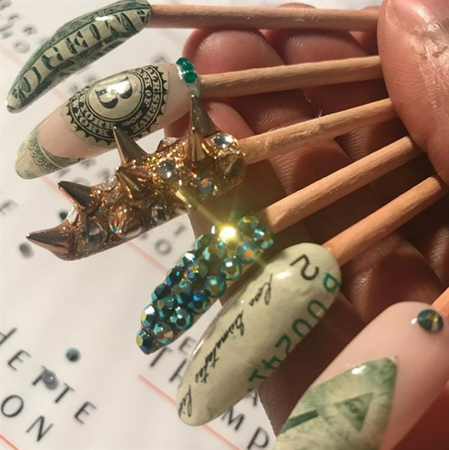 Money nail art featured in museum of modern art style nails photo via bernadette thompson prinsesfo Images
