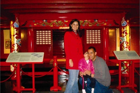 <p>Cecilia Bustamante, her husband Sgt. Rogelio Pagan, and daughter Sofia, have been in Okinawa, Japan, since 2009 for Rogelio's Army assignment. Here they are at Shurijo Castle Park.</p>