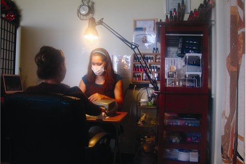 <p>Cecilia Bustamante works from her home on base. She got her clientele from her Facebook page and by inviting the local military women for free services, which led to many referrals and, within eight months, a full book.</p>