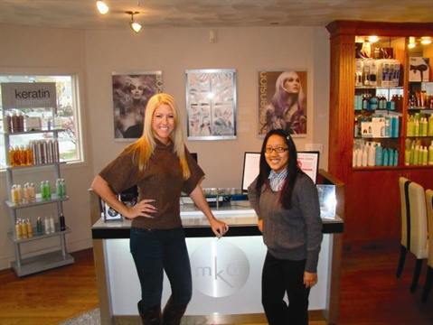 <p>Gina Silvestro (left) has been a great mentor to Amy Oung. [inset] Gina's specialty is fantastic, eye-catching nail designs.</p>