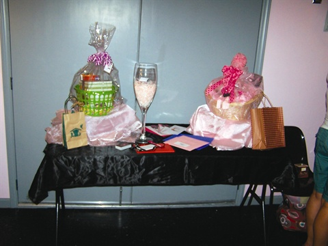 <p>We had door prizes donated from several business owners who are members of the two networking groups I'm in for my salon's grand opening party.</p>