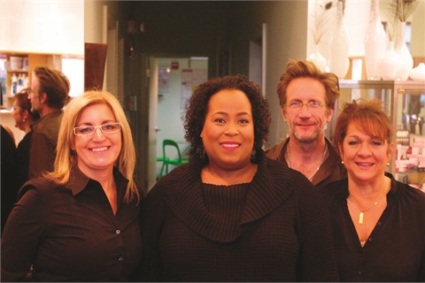 <p>Salon 4 has four owners, including Leyla Heinrich (left) and Michael Houston (second from right). They took a quick picture with nail tech Susan Donnelly (right) and me.</p>
