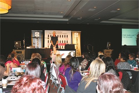 Birchall explained how beauty has changed her life to a roomful of nail techs attending a CND Shellac hands-on class.