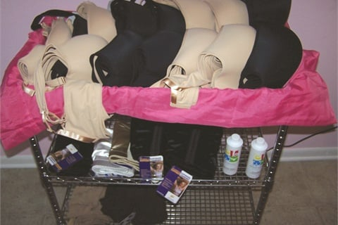 <p>The cart stores all the bras from the demo/fitting kit.</p>