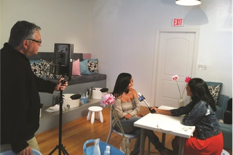 "<p>Regular client Gracie Gladney was interviewed by Eva Saha for a segment about our salon on ABC7's ""190 North"" program.</p>"