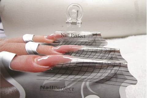 Ly Stiletto Forms And Extend The Nail Bed With Pink Gel Then Create Free Edge Clear Builder
