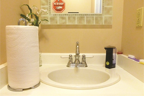 <p>Laura Merzetti's powder room serves as her clients' hand-washing station. Note the paper towels, liquid soap dispenser, manicure brushes, and a Durham Region hand-washing sticker on the mirror.</p>