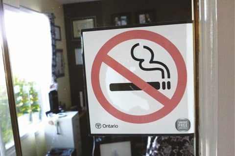 """<p>""""No-smoking signage on the door to my salon is required by law as this is a workplace,"""" says Merzetti.</p>"""