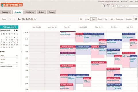 Store Vantage web-based calendar program includes the option to set up automatic appointment reminders for each client.