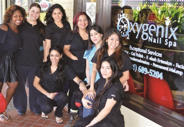 <p>Here I am with the talented nail techs at Oxygenix. Pictured clockwise: Me, Charlotte Griffin, Grecia Ortega, Dayana Sanchez, TQ Truong, Lisa Le, Twin Trong, and Leisha Vasquez.</p>