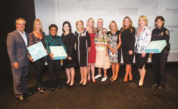 <p>CND's Jan Arnold (fifth from right) was one of the businesswomen and entrepreneurs honored by <em>San Diego Magazine</em> at the 2014 Woman of the Year Awards.</p>