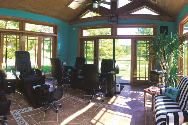 Salon furniture suppliers should have inspiring photos of finished salons that online shoppers can browse. Think Houzz! Here, Cabin Nails in Wisconsin uses good space design and coordinated furnishings to create cohesion in a small space. (Photo courtesy Cabin Nails/Standish Salon Goods)