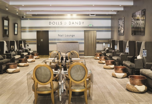 The pedicure chairs at Dolls & Dandy feature custom-designed antimicrobial copper bowls.