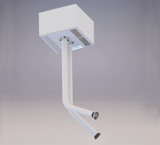<p>If a small footprint is a priority for your nail salon space, inquire about ceiling-mounted source-capture systems like this one by Aerovex.</p>