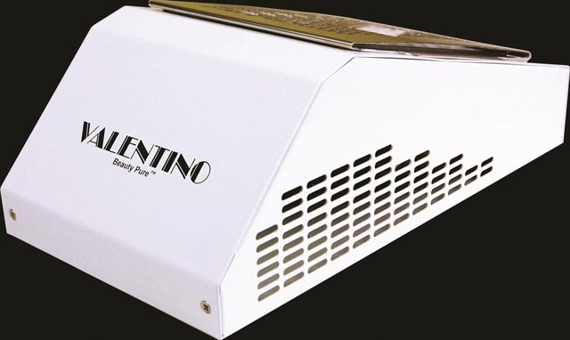 Valentino Beauty Pure's source-capture ventilation contains a 293 cfm fan to remove nail dust and acrylic odor.